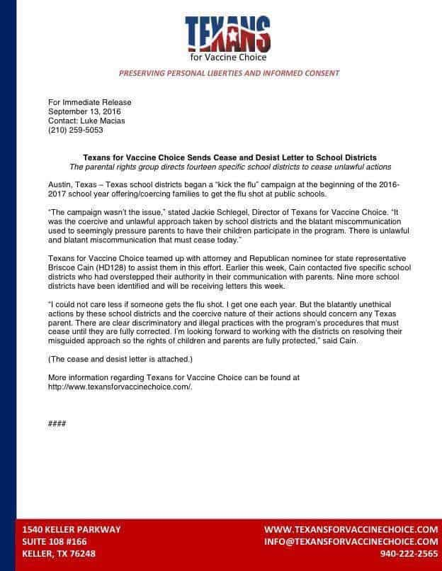 texans for vaccine choice sends cease and desist letter to school districts